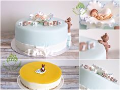 Christening cakes with sugarpaste teddy and sleeping baby boy