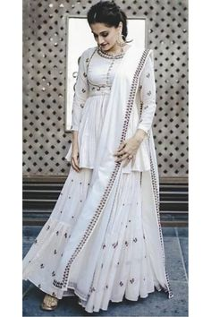 Light Blue Party Wear Wedding Wear Lehenga Choli | Indian Online Ethnic Wear Website For Women Palazzo With Kurti, Palazzo Suit, Wedding Salwar Suits, Indian Online, Taapsee Pannu, Off White Color, Designer Dresses, Designer Clothing, Work Tops