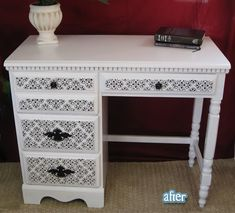 I just love this black and white dresser. It would go great in my daughter's black, white & purple room.