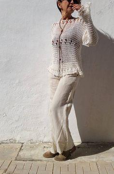 Jersey crema para mujer suéter de punto tejido a mano