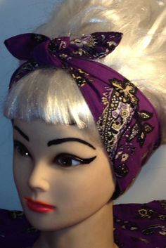 Head Scarf Headband Rockabilly Pinup Vintage by 3DROPSOFPOISON, $10.00