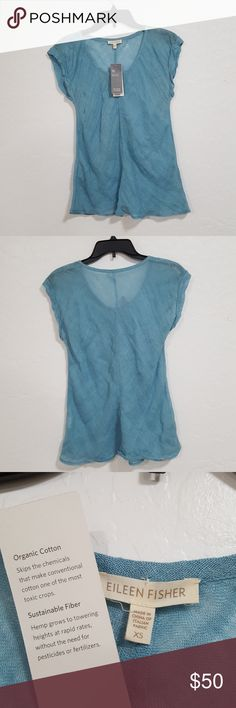 """Eileen Fisher XS Organic Cotton Blouse Top Eileen Fisher Travel & Spa Blouse Top  - New with tags  - Organic cotton - Light transparency - Teal/Light Blue - Size XS  Measurements (inches):  Pit to pit - 15"""" Shoulder to shoulder - 16"""" Back length - 22""""  Any questions feel free to ask   Thank you Eileen Fisher Tops"""