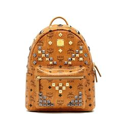 MCM Small Stark M Studded Backpack In Brown