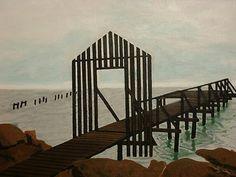 Acrylic painting of a dock on the  Texas coast