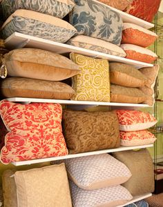 Fortuny pillows at Regency Antiques and Home,  West Palm Beach, Fl.    Formerly at Charles St, Boston, MA