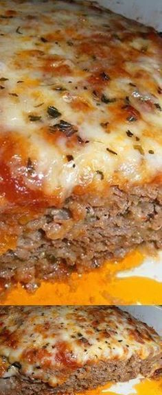 1 lb Ground beef. 1/2 lb Italian sausage, ground mild. 1/2 tsp Basil. 1/2 cup Bell pepper. 1 clove Garlic. 1 Onion, small. 1/2 tsp Oregano. 1/2 tsp Parsley. 1 Egg. 1 cup Marinara sauce. 1 tsp Worcestershire sauce. 1 tsp Olive oil. 3/4 cup Italian bread crumbs. 2 slices White bread. 1 tbsp Milk. 8 oz Mozzarella cheese. 1/4 cup Parmesan cheese.