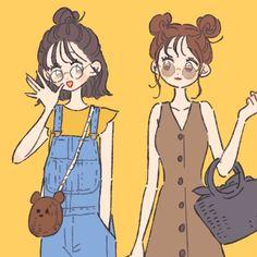 Kawaii Anime Girl, Anime Art Girl, Anime People Drawings, Character Drawing, Character Design, Sunset Color Palette, Anime Friendship, Anime Best Friends, Korean Art