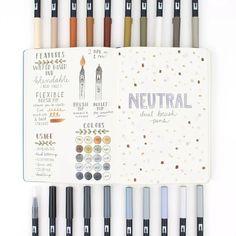 Tombow Dual Brush Pen, Brush Pen Art, Bullet Journal Markers, Bullet Journal Ideas Pages, Bullet Journal Inspiration, Bullet Journals, Marker Kunst, Marker Art, Planners