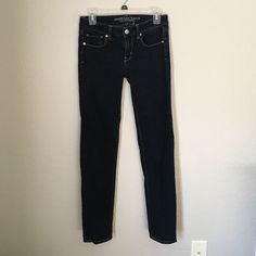 Skinny jeans Dark wash skinny jeans. Worn twice. Practically brand new. American Eagle Outfitters Jeans Skinny