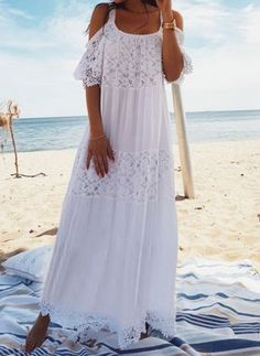 2019 White Lace Cotton Patchwork Lace Beach Dress Long Beach Cover Up Bathing Suit Cover Ups Beach Sarong Robe De Plage Tunic Backless Maxi Dresses, Lace Maxi, Beach Dresses, Dresses Dresses, Sleeveless Dresses, Lace Tunic, Long Dresses, Wrap Dresses, Floral Maxi