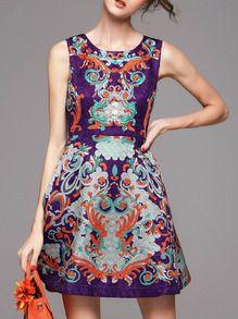 Purple Jacquard Pockets A-Line Dress