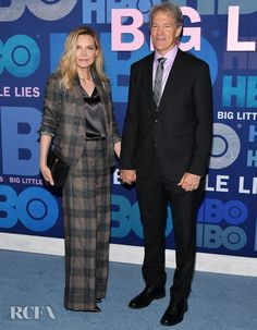 Red Carpet Fashion Awards May Michelle Pfeiffer's Big Check Suit For The 'Big Little Lies' Season 2 Premiere - Brunello Cucinelli Spring 2019 gray plaid pantsuit with satin sleeveless top Celebrity Red Carpet, Celebrity Look, Celebrity Couples, Michelle Pfeiffer, Jennifer Connelly, Emma Roberts, Checked Suit, Big Little Lies, Red Carpet Event