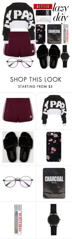 """Untitled #257"" by itsjana ❤ liked on Polyvore featuring adidas, Topshop, American Eagle Outfitters, Burt's Bees and Gucci"
