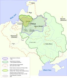 Lithuania - Map showing changes in the territory of Lithuania from the 13th century to the present day.