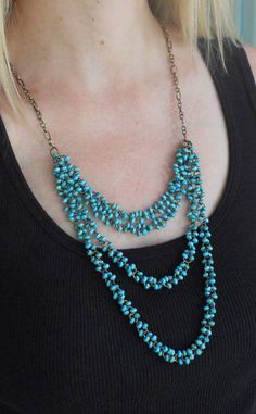 Turquoise Layered Necklace by AdornmentsbyWendi on Etsy, $25.00