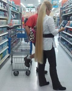 How To Style Beautiful Long Blond Hair Into a Mullet - People of Walmart Fail - Funny Pictures at Walmart