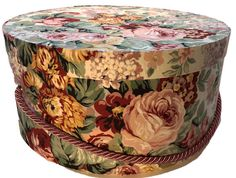 Large Hat Box in Vintage Floral Ready to ship Round Box