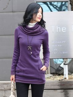 Free Scarf Thicken Long Sleeve Knit Elegance Blouses