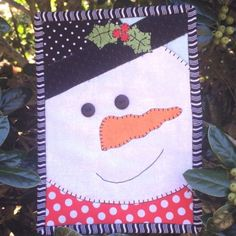 """Items similar to Quilt Kit -""""Snowman Mug Rug Kit"""" -by Stitches of Love, Mug Rug x Laser Cut Fusible Mug Rug Kit, Fusible Kit, Snowman on Etsy Christmas Mug Rugs, Christmas Sewing, Christmas Quilting, Small Quilts, Mini Quilts, Mug Rug Patterns, Quilt Patterns, Canvas Patterns, Snowman Patterns"""