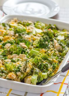 Skinny Chicken, Broccoli and Rice Casserole with Kale -- A light version of America's favourite comfort food. And it's quick too.