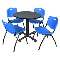 Kobe 48 inch Grey Round Breakroom Table and 4 'M' Stack Chairs, Multiple Colors, Black