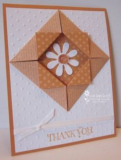 handcrafted thank-you card ... white and dusty orange ... double sided paper folded into a frame ... daisy inside ... fun design ... Stampin' Up!