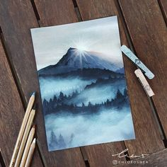 -Misty Mountain My motivation for drawing is back and I finally completed another pastel. I'm so happy with this one ____ -Toison D'Or soft pastels -Faber-Castell Pitt pastel pencils -Copic Markers (only used for the first layers, don't use on top of Past Art Pastel, Soft Pastel Drawings, Drawing With Pastels, Pastel Artwork, Guache, Cool Ideas, Art Design, Art Plastique, Cool Drawings