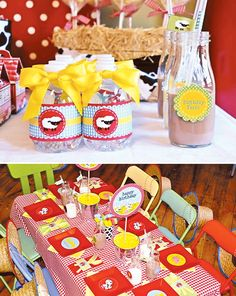 "Colorful ""Birthday Farm"" Barnyard Party... Everything about this is adorable but check out the place settings :) easy. She said milk bottles are empty frappacino bottles!"