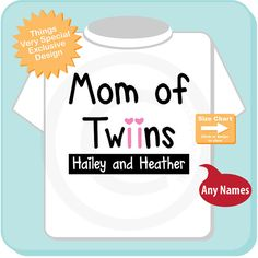 New Mom Gift, Personalized Mom of Twin Girls Adult Tee shirt