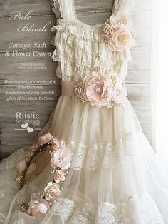 b7357196 Pale Blush ~ Flower Girl, Bridesmaid, Bride Wedding Flowers ~ Corsage ~  Sash ~ Flower Crown ~ Item ID: PB