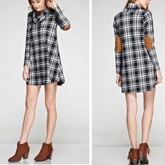 •plaid elbow patch tunic• Super cute plaid dress or tunic with elbow patches.  Cowl neck. Material is 60% rayon,30%!poly, and 5% spandex.  Small bust measures 32 inches, medium 34 and large 37. Length about 33 inches.  Price is firm unless bundled. Dresses
