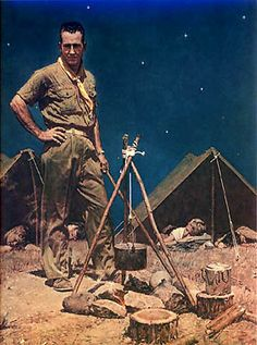 """The Scoutmaster"" Boy Scout Art Print by Norman Rockwell    1956 - keeping-watch"