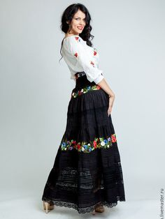 Embroidered black skirt Bright duet by Handembroiderykvitka