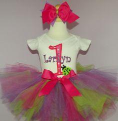 Pink, Lime, & Purple Ladybug 1st Birthday Tutu Outfit