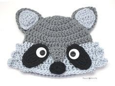 Our favorite backyard bandits! This raccoon hat by Repeat Crafter Me is too cute. Make it with Vanna's Choice!
