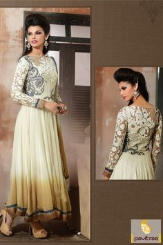 Pavitraa Off #White with #Camel Floor #Length #Anarkali #Salwar Suit Rs 6046.2