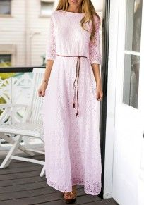 Pink Plain Lace Hollow-out Draped Sashes A-line Bridesmaid Vintage Prom Maxi Dress