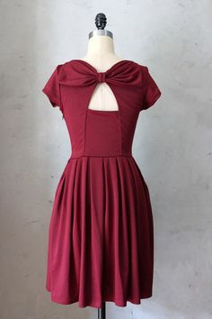 Holly Golightly Dress in Port. Beautiful dress reminiscent of Audrey Hepburn....perfect with ballet flats! Deep romantic port hue. Made in USA!
