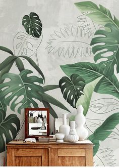 Southeast Asian rainforest plant wall murals wall decor, green leaves shrub wallpaper mural, tropical landscape wallpaper - Details: I can do custom designs and sizes, if you need customized, you can contact me. Art Mural, Wall Murals, Mural Painting, Wallpaper Wall, Plant Wallpaper, Rainforest Plants, Cleaning Walls, Wall Drawing, Tropical Landscaping