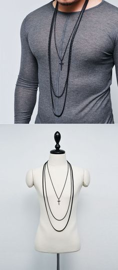 Accessories :: Dark Edge Long 3pc Beads Chain Cross-Necklace 177 - Mens Fashion Clothing For An Attractive Guy Look