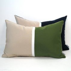 Olive Green and Natural Beige Color Block Pillow Cover - Sunbrella Outdoor Indoor Decor.  #mazizmuse #OutdoorPillow #SunbrellaPillow