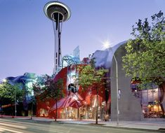 the emp (experience music project) nestled below the space needle at seattle center.