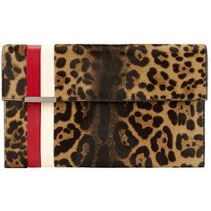 Tomasini Calfhair Leopard Flap Stripe Clutch ($1,495) ❤ liked on Polyvore featuring bags, handbags, clutches and leopard