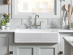 Beautiful farm style kitchen sink, updated.   KOHLER | Whitehaven® Kitchen Sinks | Kitchen New Products | Kitchen |