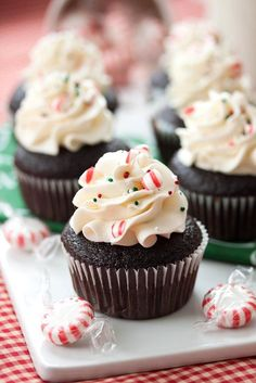 Looking for Fast & Easy Christmas Recipes, Dessert Recipes! Recipechart has over free recipes for you to browse. Find more recipes like Chocolate Cupcakes with Peppermint Buttercream . Köstliche Desserts, Holiday Desserts, Holiday Baking, Christmas Baking, Delicious Desserts, Holiday Foods, Delicious Chocolate, Cupcake Recipes, Baking Recipes