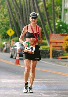 Harriet Anderson, 74. Competed in Ironman World 18 times. In 2009, got clipped from behind on her bike, fell and broke her clavicle. She taped her arm to her waist, walked the marathon portion and still finished in time. It doesn't get any more badass than that.