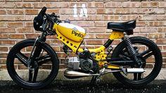 Garage - Build: No Keys, badass brommer voor Niels Small Motorcycles, Racing Motorcycles, Vintage Motorcycles, Moped Motorcycle, Scooter Motorcycle, 150cc Scooter, Sidecar, Gas Powered Bicycle, Custom Moped