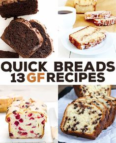 These 13 gluten free quick bread recipes for everything from banana, cinnamon swirl and cranberry to zucchini and pumpkin, and from savory to sweet. #GlutenFree #glutenfreebread