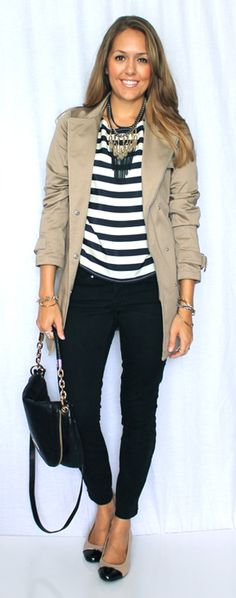 Trench: New York & Co, $50 Shirt: Francesca's c/o, old (similar, similar, similar) Jeans: Gap, $35 (similar) Shoes: Me Too/Marshall's, $28 (similar, similar, heels) Purse: Michael Kors, Santa Necklace: My Stella & Dot, $69 Bracelets: My Stella & Dot 1, 2, 3, 4, 5 Rings: My Stella & Dot 1, 2 (July 2013)