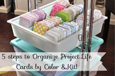 Easy Steps to Organize Project Life Cards by Color AND Kit! Artful Leigh: 5 Easy Steps to Organize Project Life Cards by Color AND Kit!Artful Leigh: 5 Easy Steps to Organize Project Life Cards by Color AND Kit! Project Life Organization, Project Life Storage, Scrapbook Organization, Room Organization, Project Life Scrapbook, Project Life Album, Project Life Cards, Project Life Freebies, Project Life Layouts